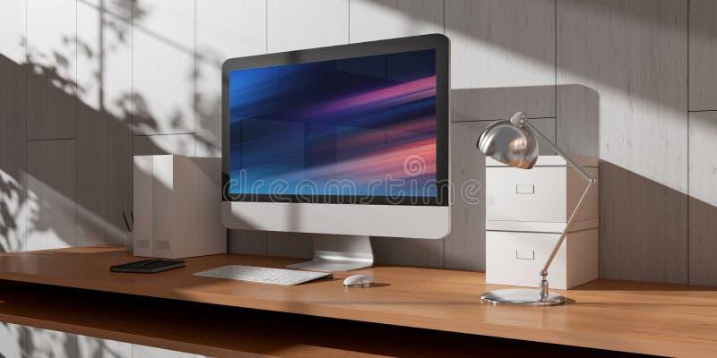 Computador e dispositivos na rendição 3D interior da mesa de madeira moderna ilustração royalty free