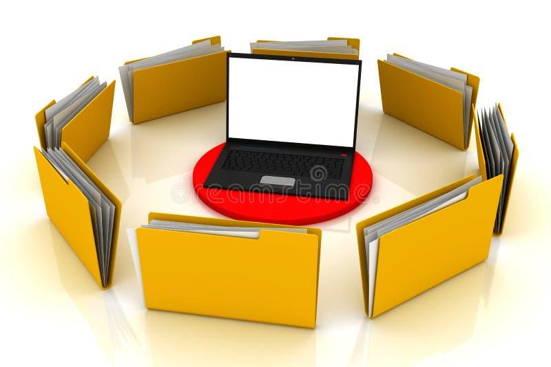 Computador e dobradores ilustração royalty free