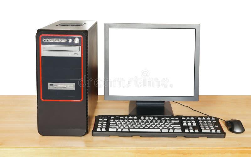 Computador e exposição pretos com tela cortada foto de stock