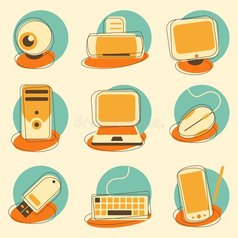 Computador e grupo do ícone da eletrônica ilustração royalty free