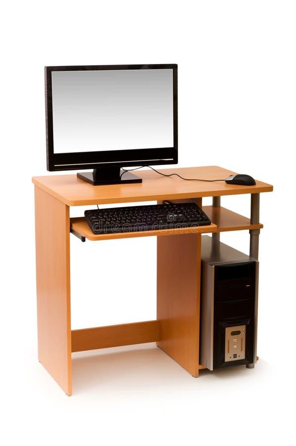 Computador e mesa isolados fotos de stock royalty free