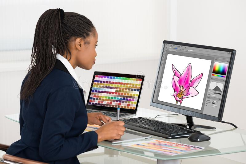 Computador fêmea de Drawing Flower On do desenhista usando a tabuleta gráfica imagem de stock royalty free