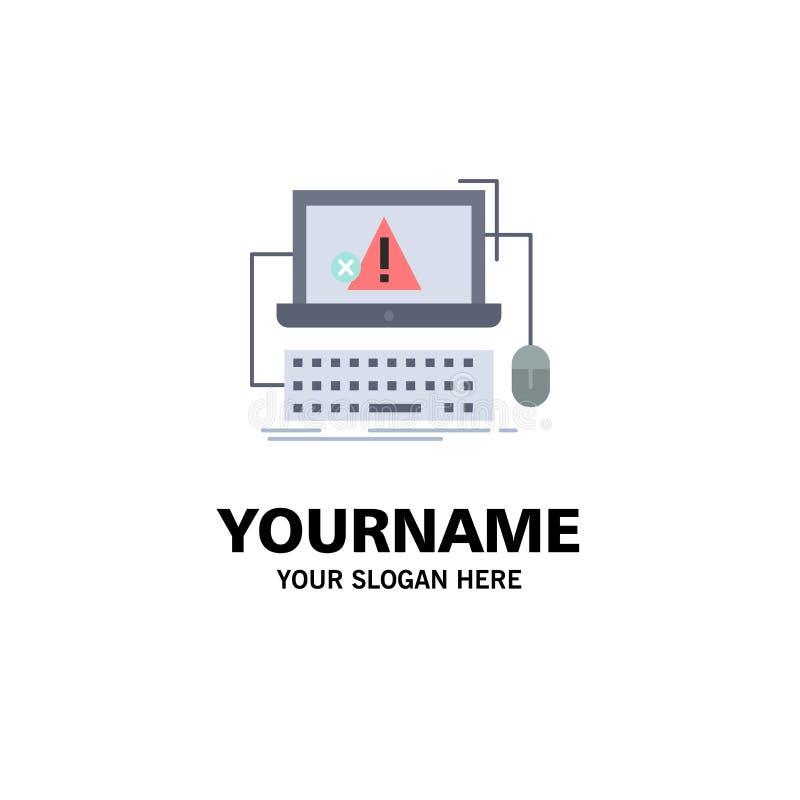 Computador, impacto, erro, falha, vetor liso do ícone da cor do sistema ilustração royalty free