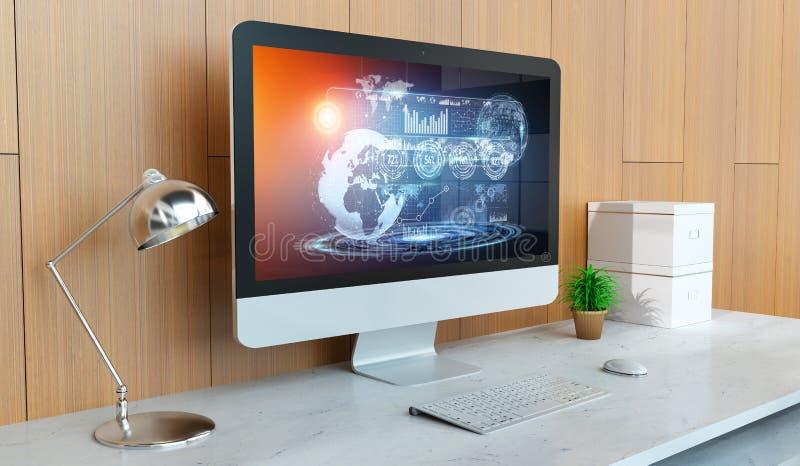 Computador moderno com rendição digital da apresentação 3D do holograma ilustração stock