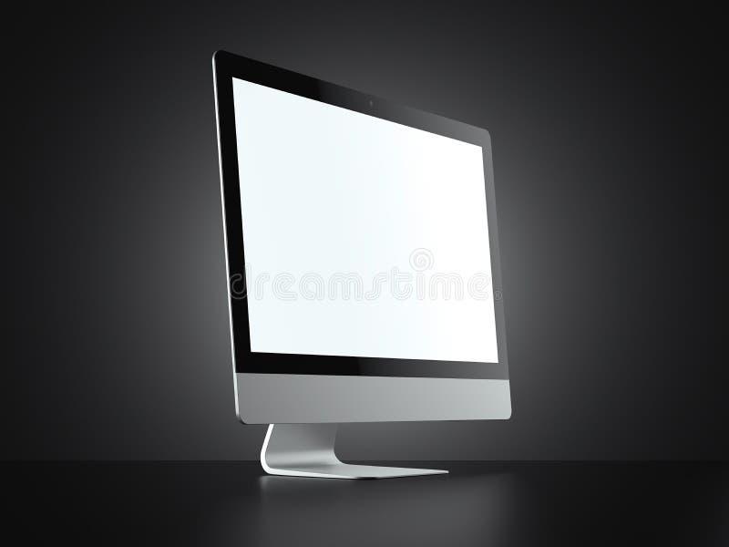 Computador moderno isolado no fundo preto rendição 3d ilustração royalty free