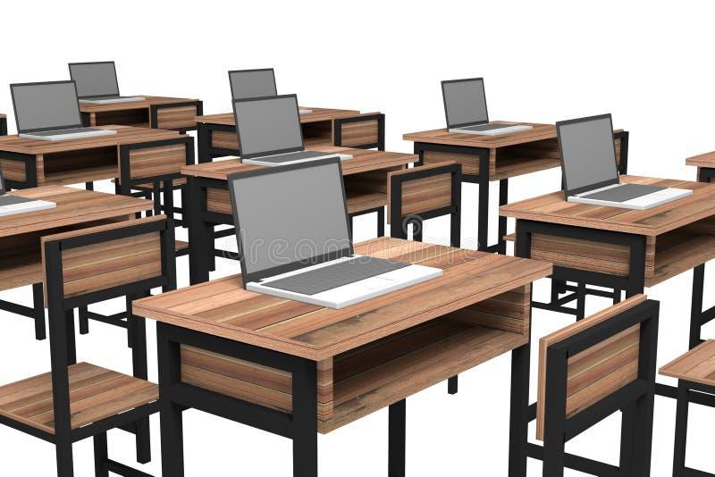 Computador na biblioteca moderna ilustração royalty free