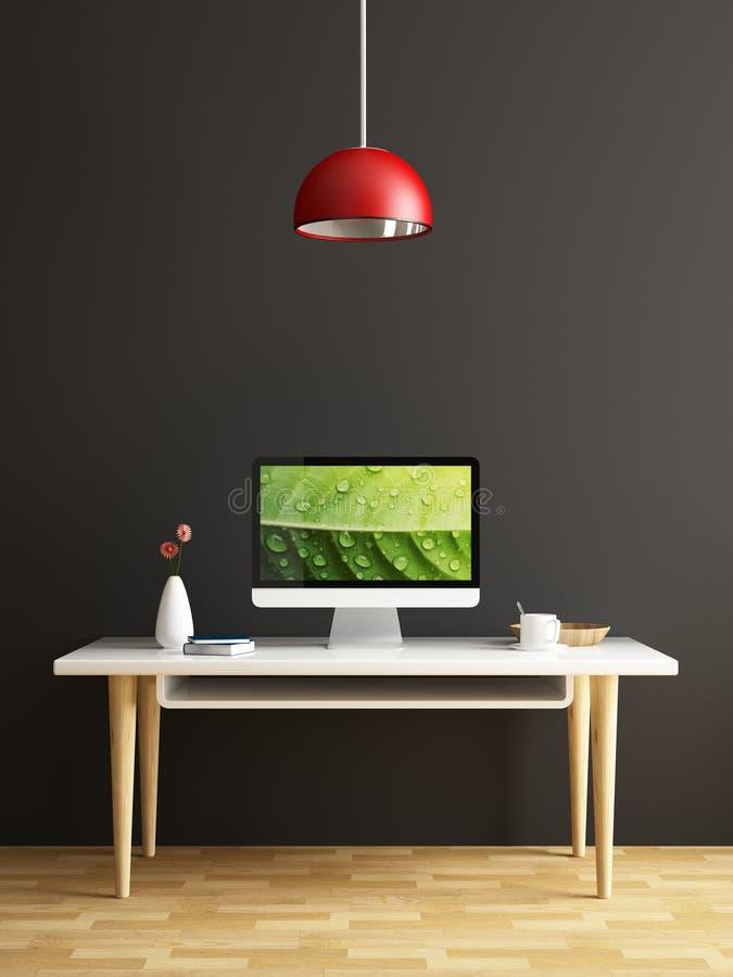 Computador na tabela branca do conceito interior ilustração royalty free