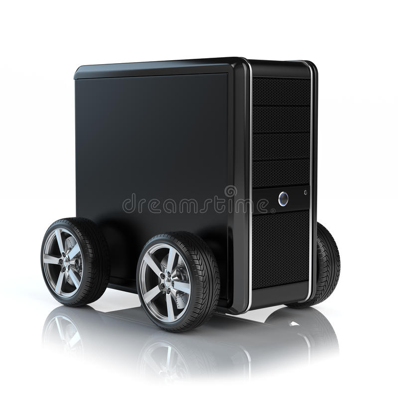 Computador nas rodas ilustração stock