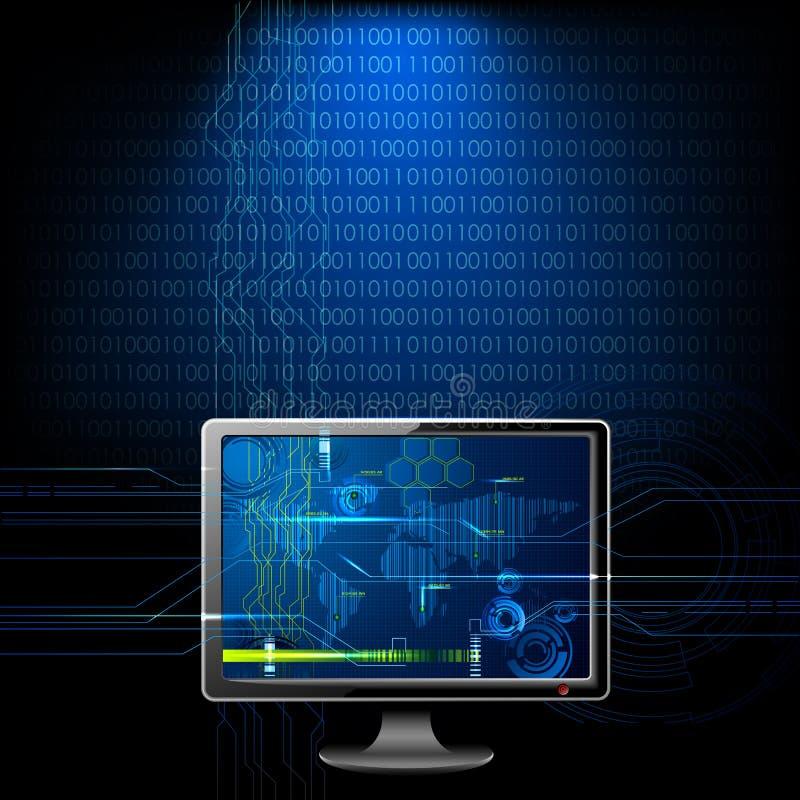 Computador no fundo binário ilustração stock