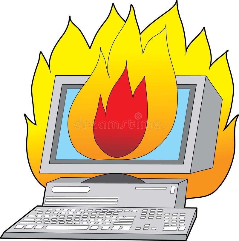 Computador no incêndio ilustração do vetor