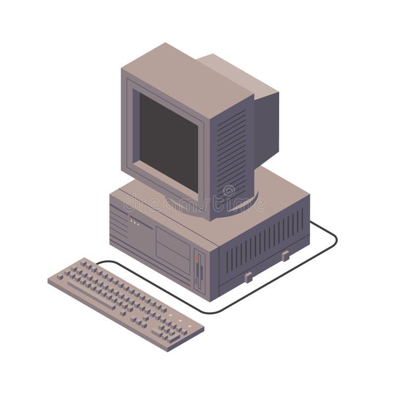 Computador pessoal retro PC velho com exposição, teclado Ilustração isométrica do vetor ilustração stock