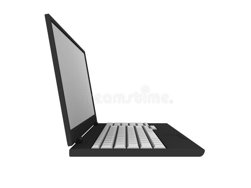 computador portátil 3D em branco isolado no branco ilustração do vetor