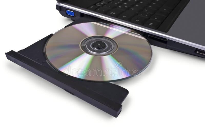 Computador portátil com unidade de disco ótica aberta, Cd, imagens de stock royalty free
