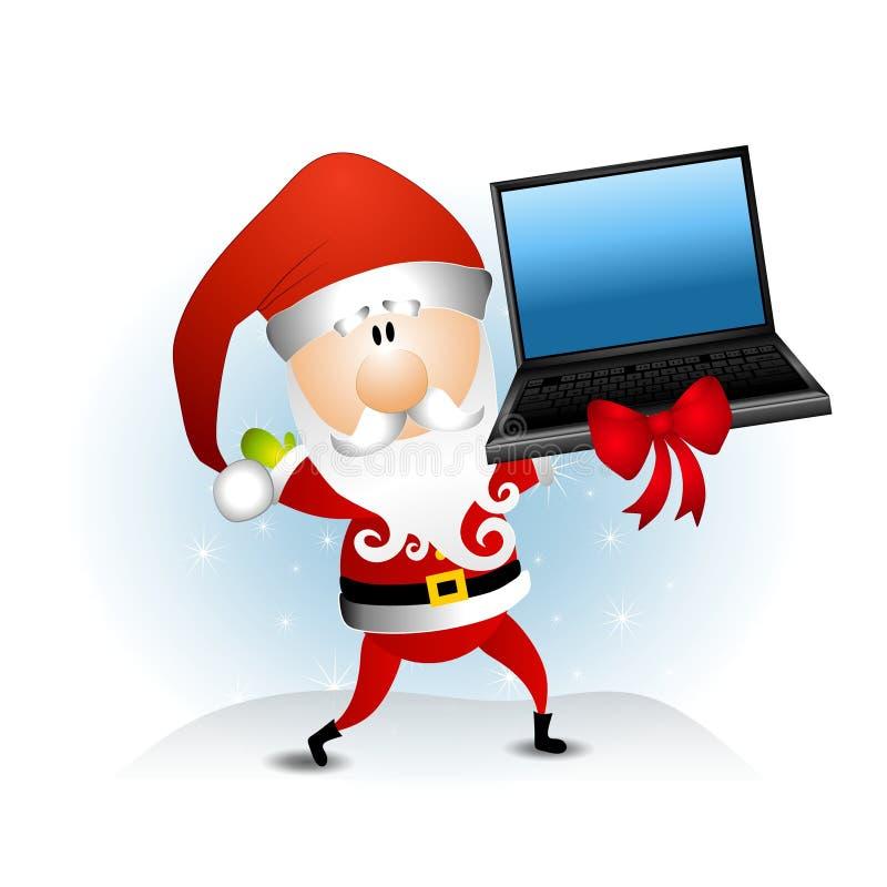 Computador portátil de Papai Noel ilustração stock