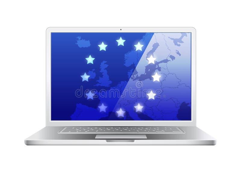 Computador portátil isolado com mapa de Europa ilustração do vetor