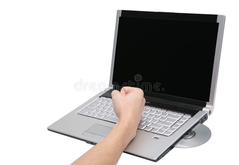 Computador portátil quebrado imagens de stock royalty free