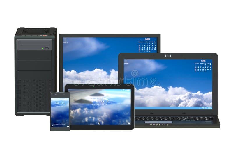 Computador, portátil, tabuleta e smartphone modernos ilustração royalty free