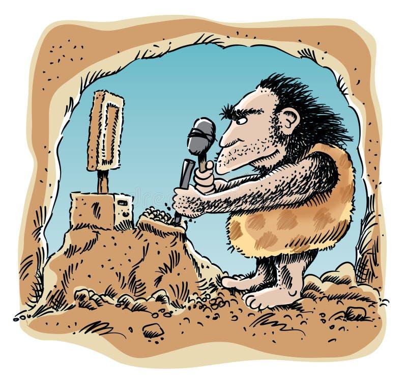 Computador que cinzela o homem das cavernas ilustração royalty free