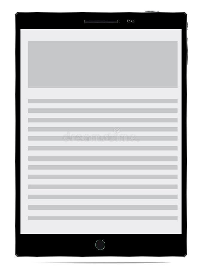 Computador realístico do PC da tabuleta com tela em branco ilustração do vetor