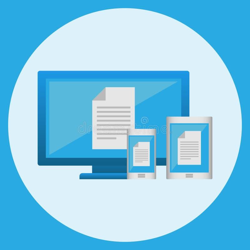 Computador, telefone celular e tabuleta Ilustração do vetor ilustração do vetor