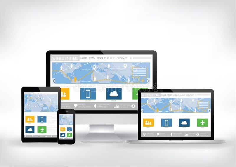 Computador, telefone esperto, tabuleta, molde do Web site da tela do portátil ilustração stock