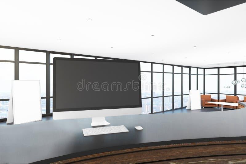 Computador vazio na mesa de recepção ilustração do vetor