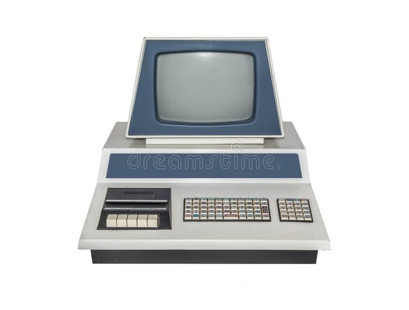 Computador velho isolado no fundo branco foto de stock