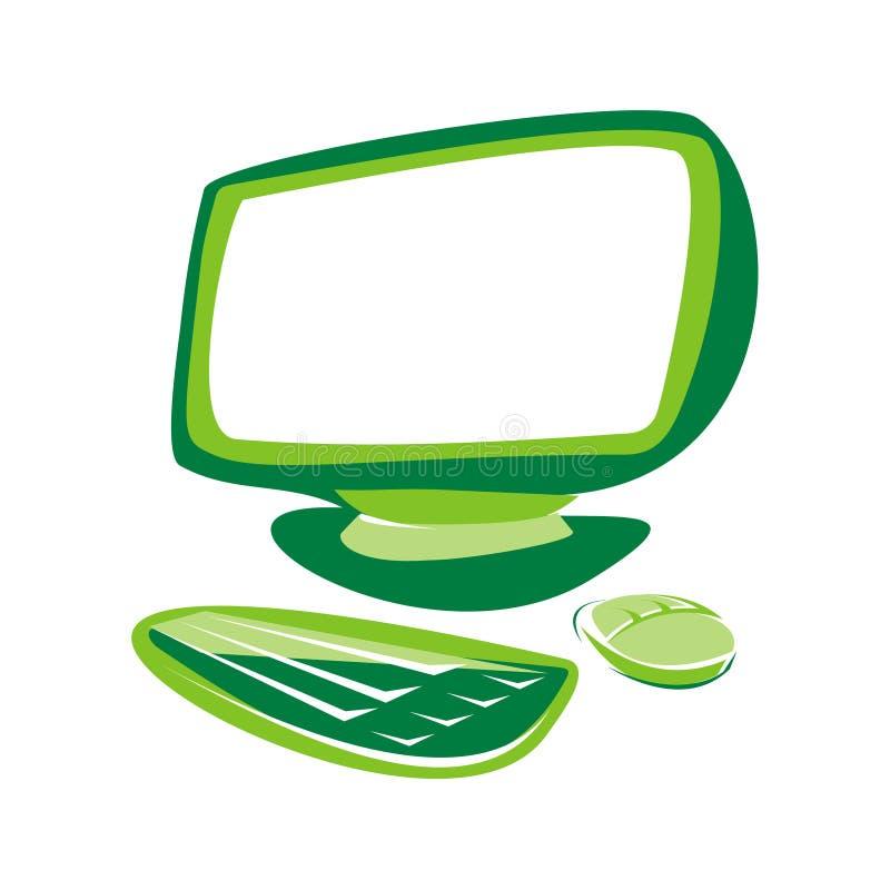 Computador verde ilustração royalty free