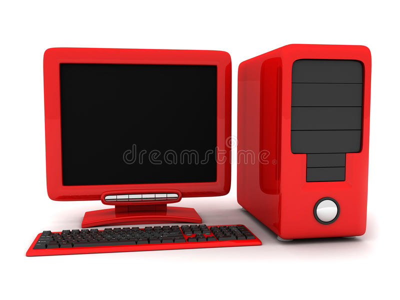 Computador vermelho ilustração do vetor