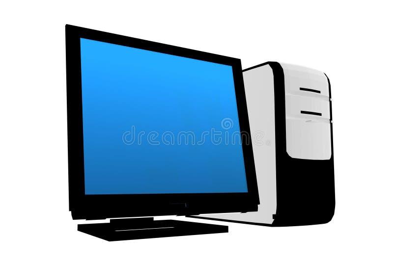 Computadora de escritorio aislada ilustración del vector