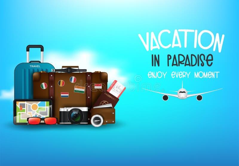 Computadora de escritorio con maleta, cámara, billete de avión, pasaporte, brújula y binoculares, concepto de viaje y vacaciones stock de ilustración