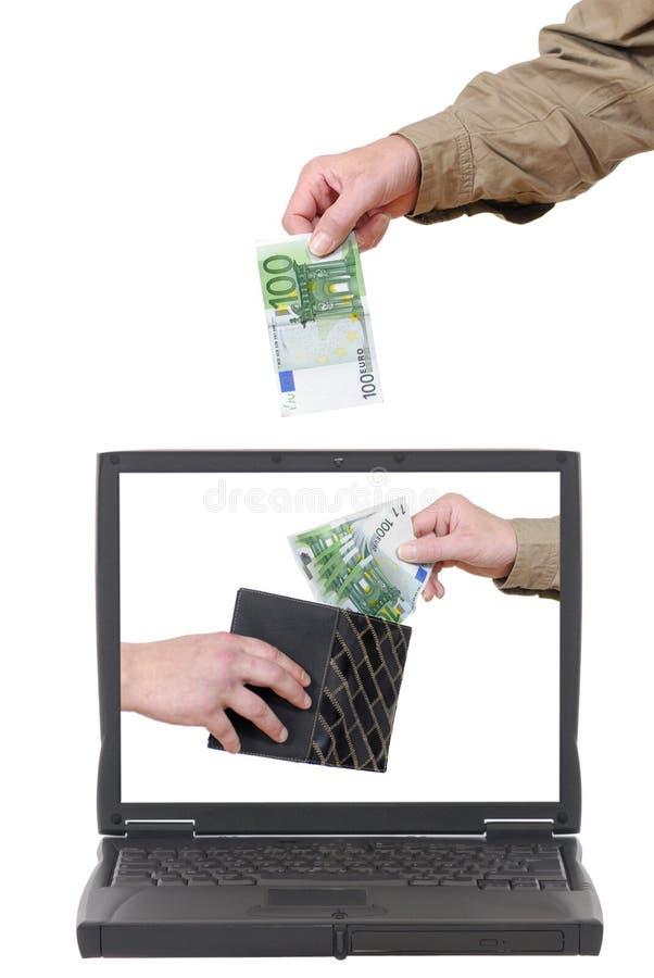 Computadora portátil, actividades bancarias en línea imágenes de archivo libres de regalías