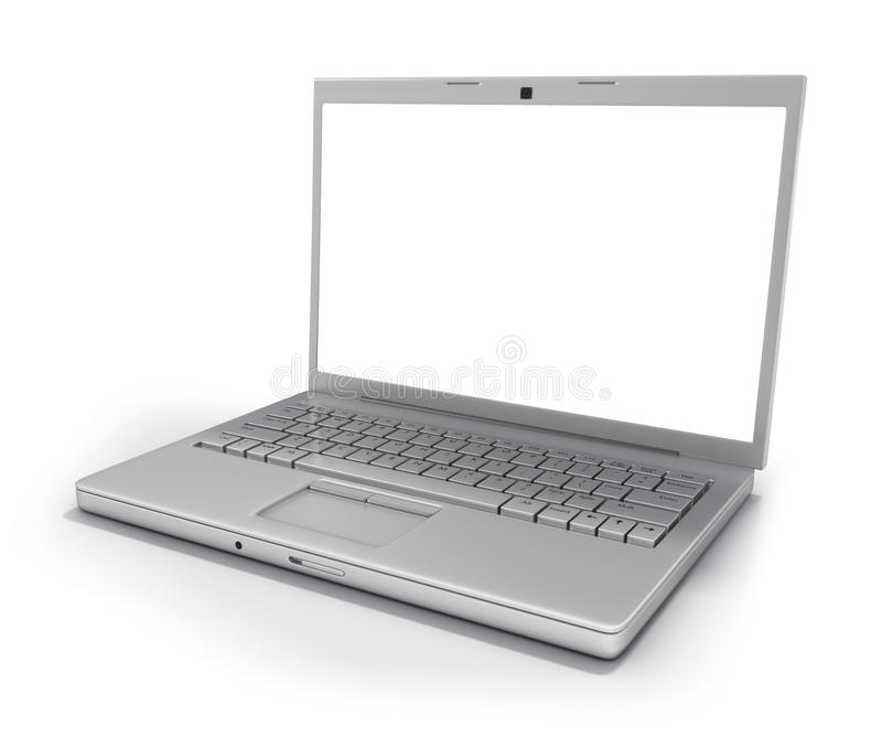Computadora portátil aislada [camino de recortes] stock de ilustración