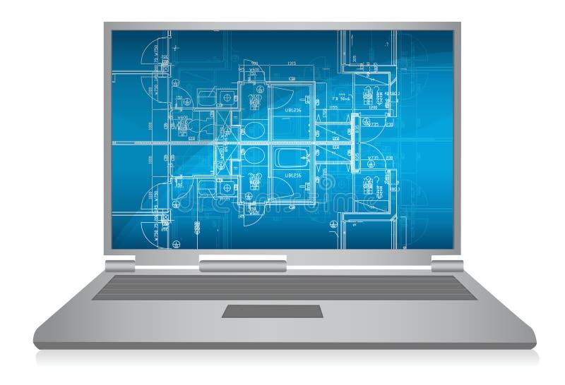 Computadora portátil con el modelo arquitectónico abstracto libre illustration