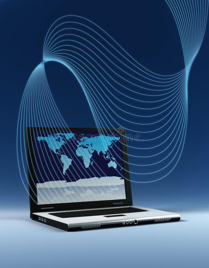 Computadora portátil con la correspondencia de mundo stock de ilustración