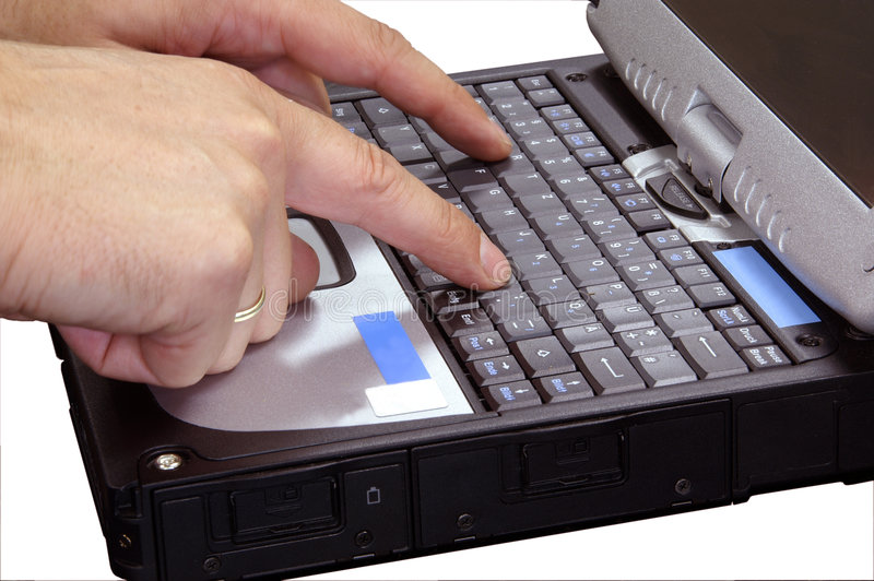 computadora portátil con la mano 3 aislada imagenes de archivo