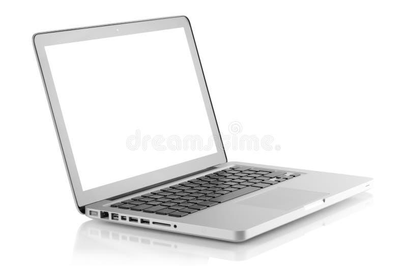 Computadora portátil con la pantalla en blanco fotos de archivo libres de regalías