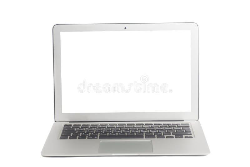 Computadora portátil con la pantalla en blanco blanca fotografía de archivo libre de regalías