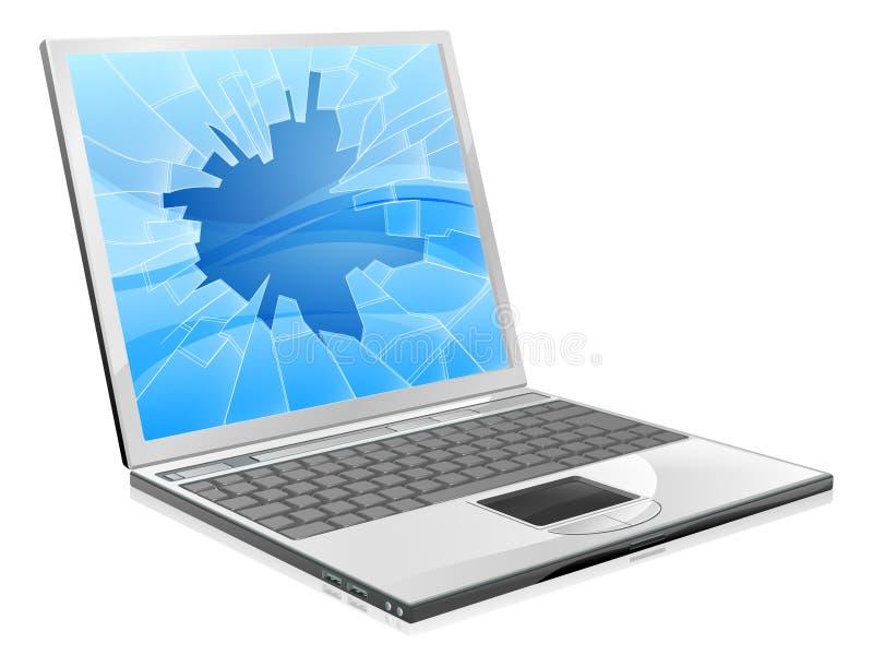Computadora portátil con la pantalla quebrada ilustración del vector