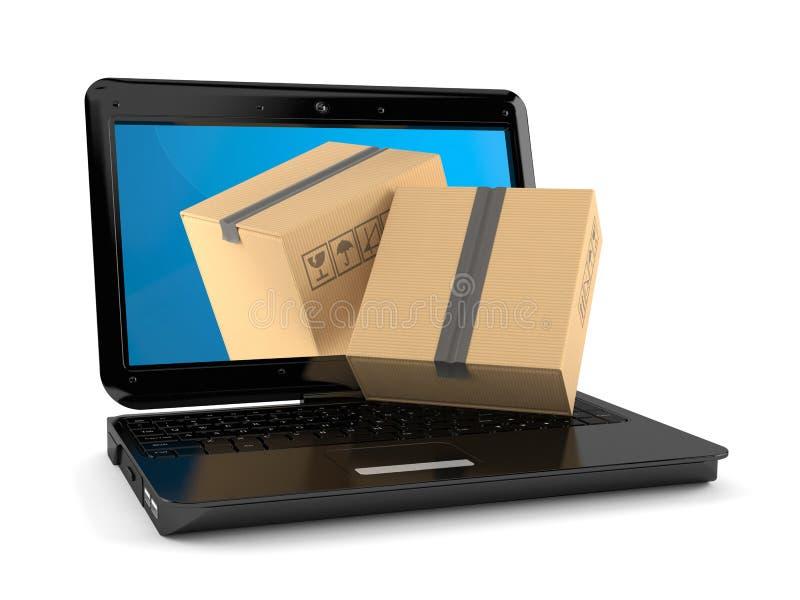 Computadora portátil con las cajas de cartón ilustración del vector