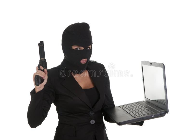 Computadora portátil de Ilegal fotografía de archivo