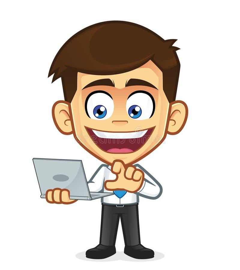 Computadora portátil de la explotación agrícola del hombre de negocios stock de ilustración