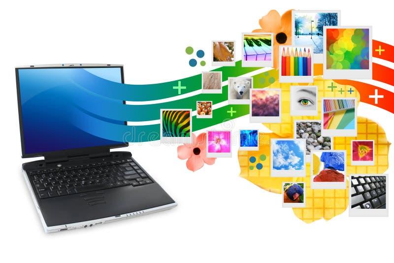 Computadora portátil de la fotografía con la proyección de las fotos libre illustration