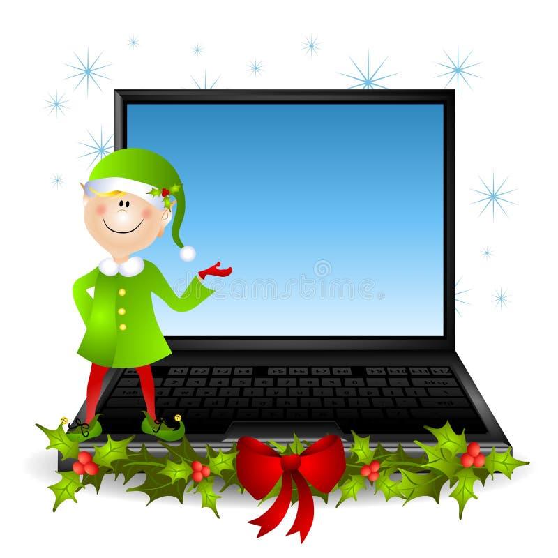 Computadora portátil de la Navidad del duende ilustración del vector