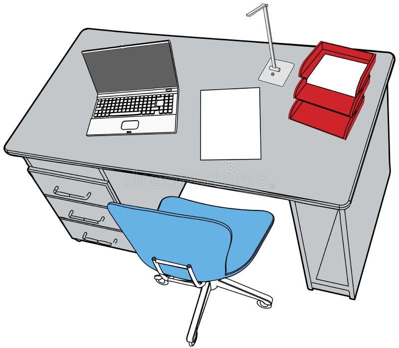 Computadora portátil del informe de asunto en escena del escritorio de oficina stock de ilustración
