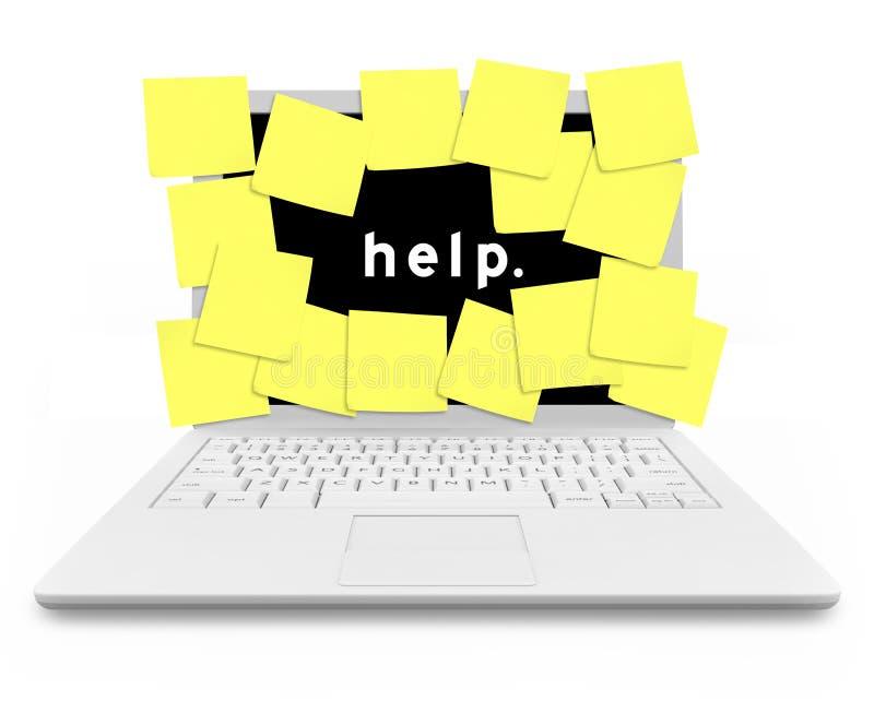 Computadora portátil del ordenador cubierta en notas pegajosas ilustración del vector