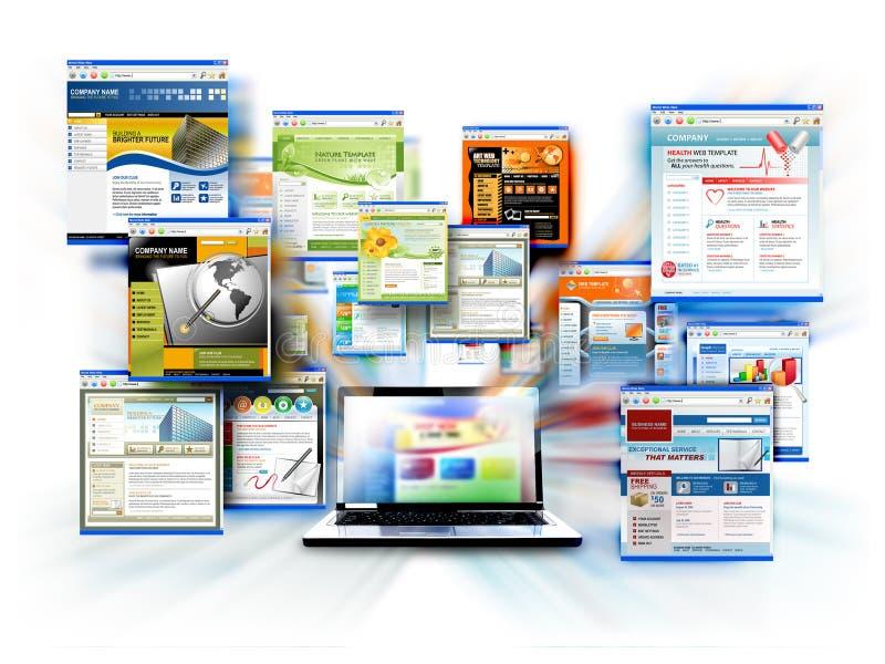 Computadora portátil del ordenador del Web site del Internet ilustración del vector