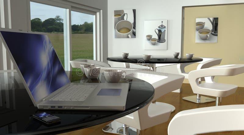 Computadora portátil en los apuroses de Wi-Fi de la barra del café libre illustration