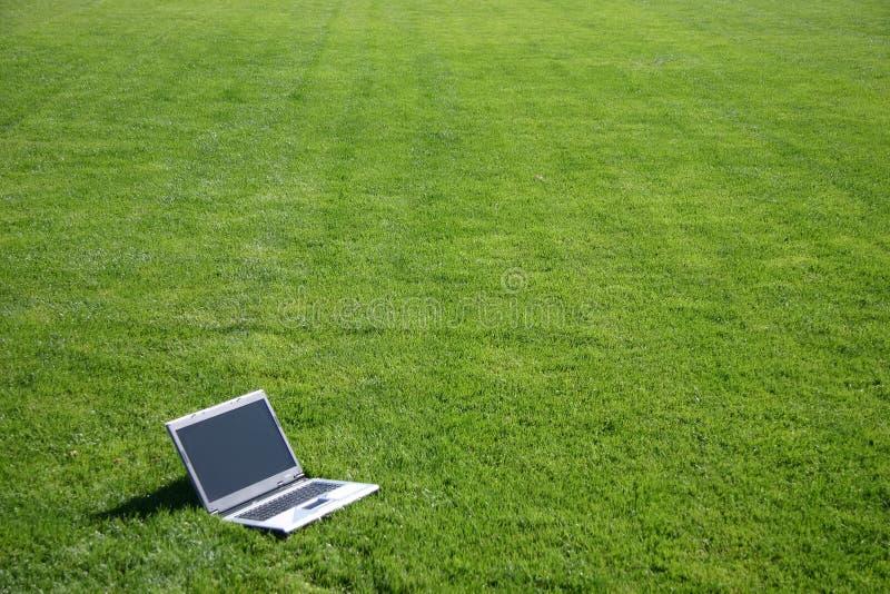 Computadora portátil en un campo verde foto de archivo