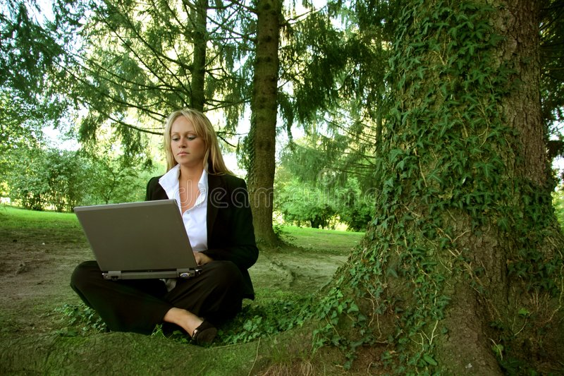 computadora portátil en un parque foto de archivo